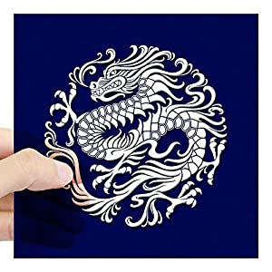 "CafePress - Traditional White And Blue Chinese Dragon Circle S - Square Bumper Sticker Car Decal, 3""x3"" (Small) or 5""x5"" (Large)"