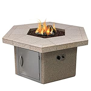 Cal Flame FPT-H401M-1 Stucco and Tile Dining Height Square Gas Fire Pit with Log Set and Lava Rocks