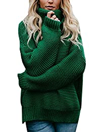 Fasumava Womens Tops Winter Casual Turtleneck Solid Loose Pullover Sweaters