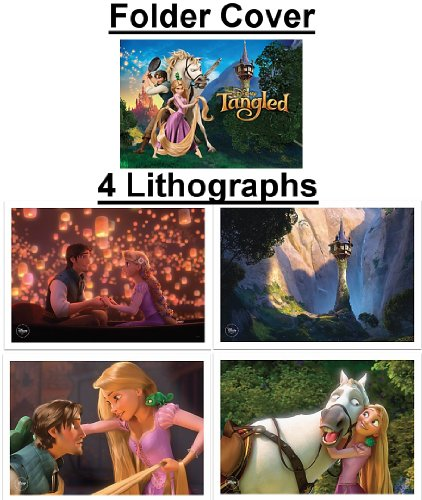 Tangled Featuring Rapunzel Limited Edition Movie Lithograph Set Including 4 Lithos & Storage Folder