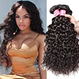 Nadula 7A Brazilian Virgin Hair Water Wave 4 Bundles Wet and Wavy 100% Unprocessed Virgin Human Hair Extensions Natural Color (22 24 26 28 Inch)