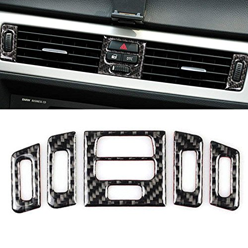 Thor-Ind Carbon Fiber Central Air Conditioning Vent Outlet Cover Trim Frame For BMW Old 3 Series E90 E92 E93 2005-2012 Car Interior Decor Decal (Central Air Conditioner Outlet Decoration, A Style) ()