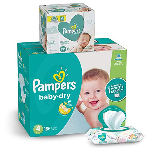Pampers Diapers Size 4, Baby Dry Disposable Baby Diapers, 186 Count ONE MONTH SUPPLY with Baby Wipes Sensitive 6X Pop-Top Packs, 336 Count, 1 Set (Best Wipes For Diaper Rash)