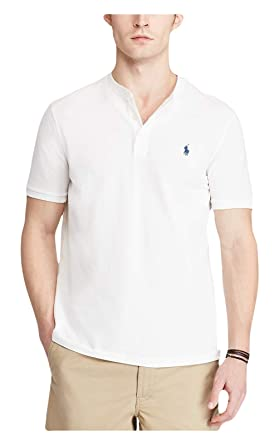 410590cf2 RALPH LAUREN Polo Men's Custom-Fit Cotton Featherweight Mesh Short Sleeve  Henley Shirt (White