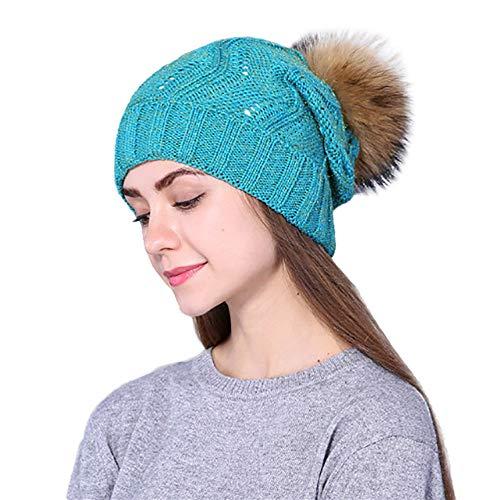 Ihengh Damen Strickmützen Mütze Häkeln 40 Warm 60cm Hat Wolle E