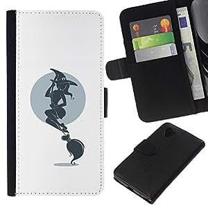 A-type (Hot bruja y escoba) Colorida Impresión Funda Cuero Monedero Caja Bolsa Cubierta Caja Piel Card Slots Para LG Nexus 5 D820 D821