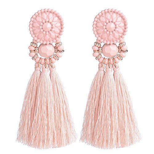 (D EXCEED Womens Fashion Statement Thread Tassel Earrings Bohemian Handmade Facet Bead Chandelier Earrings Tassel Dangle Drop Earrings Pink)
