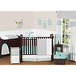 Gray and Turquoise Chevron Zig Zag Baby Bedding 4 piece Boy Crib Set without bumper