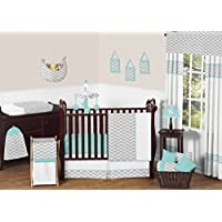 Gray and Turquoise Chevron Zig Zag Gender Neutral Baby Bedding 4 pc Boy or Gi...