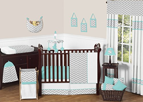 Gray-and-Turquoise-Chevron-Zig-Zag-Gender-Neutral-Baby-Bedding-4-pc-Boy-or-Girl-Crib-Set-without-bumper