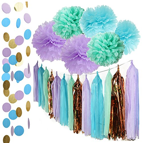 Mermaid Party Decorations Under the Sea Theme Purple Blue Mint Baby Shower Decorations Tissue Pom Poms First Birthday Decorations Purple Bridal Shower Decorations Mermaid Party (Under The Sea Table Decorations)