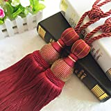 AOBRITON 1 Pair Hanging Ball Curtain Tieback Hook Bandage Luxury Tassel Curtain Holdback Holder Tie Strip Home Decor