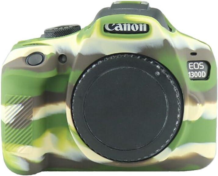 Techgo Canon 1300D Body Case Cover Soft Silicone Protective Accessory Camera Housing Camera Rubber Detachable Protection Camera Bag for Canon 1300D Digital Camera Army Green