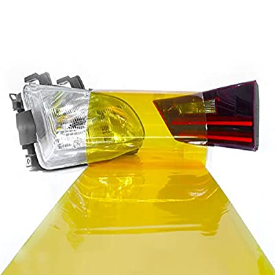 LinkedGo 12 by 48 Inches Self Adhesive Golden Yellow Headlights or Fog Taillight Tint Vinyl Film