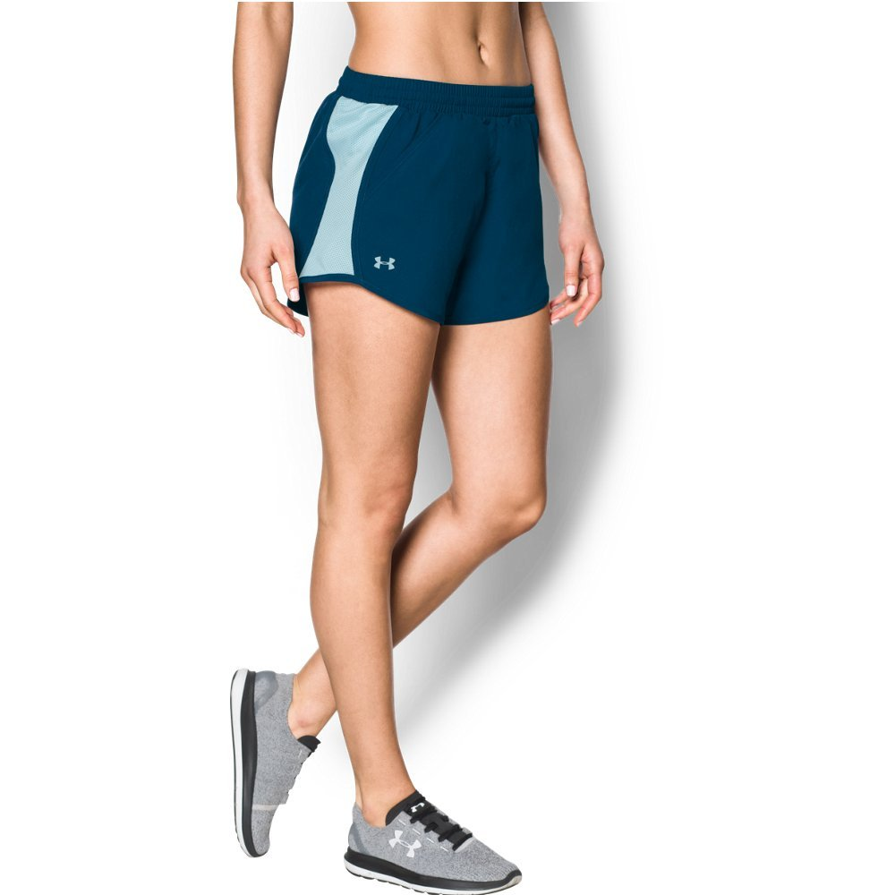 Under Armour womens Fly By Running Shorts, Blackout Navy (997)/Reflective, X-Small