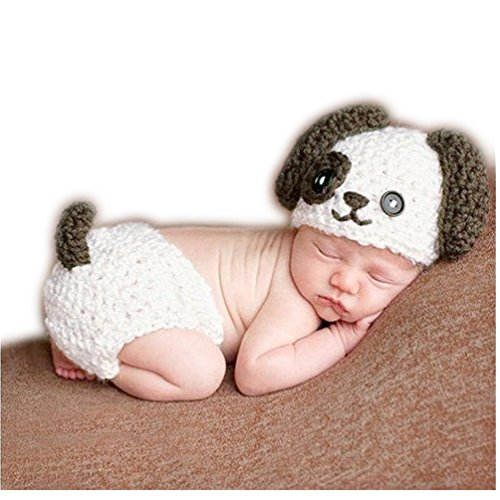 Newborn Baby Photography Props Boy Girls Photo Shoot Props Outfits Crochet Knitted Costume Unisex Cute Infant Hat Pants(Dog)