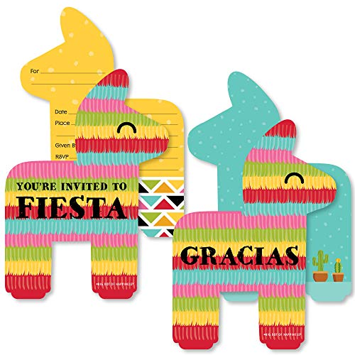Let's Fiesta - 20 Shaped Fill-In Invitations and 20 Shaped Thank You Cards Kit - Mexican Fiesta Stationery Kit - 40 Pack ()