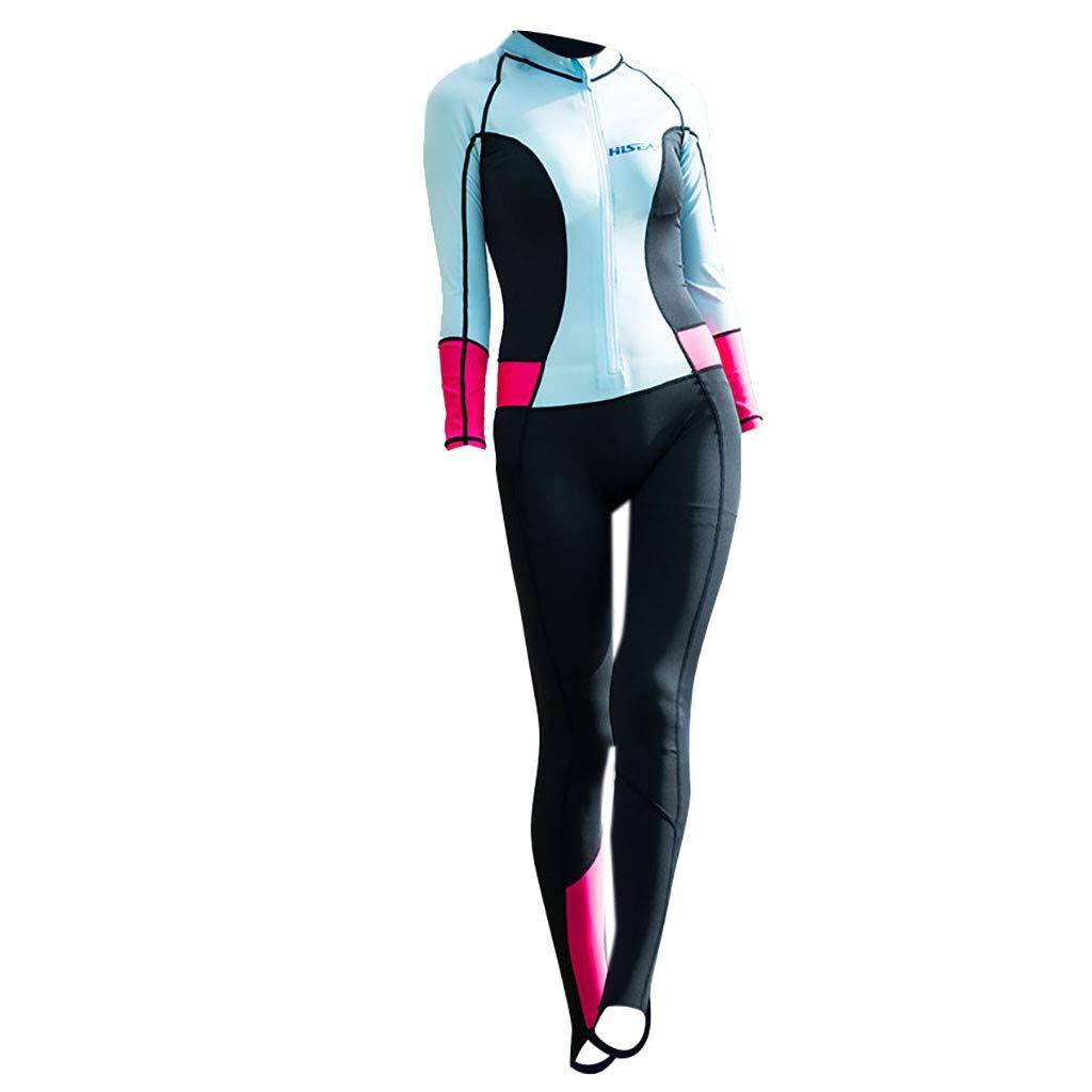 YEZIJIN Women 0.5mm Neoprene Long Sleeve Diving Wetsuit Spearfishing Suit Swimwear Wetsuit top Long/Short Sleeve Sky Blue