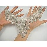 1Yard pearl applique Crystal rhinestone Wedding sash DIY crystal belt Applique trim Bridal applique
