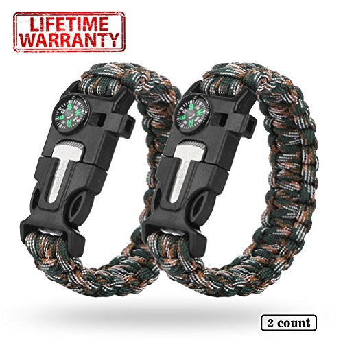 Cos2be- tactical Survival paracord Bracelet - 5 in 1 gear Kit camo 2 pcs set with embedded fire Starter Compass Emergency knife For Camping hunting Hiking and outdoors for men - Canada Shipping Rates