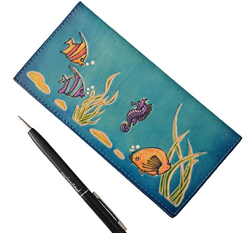 genuine-leather-checkbook-cover-sea-world-pattern-embossed-on-the-front-more-color-choice-blue