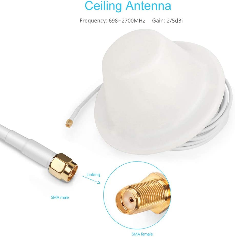 824~2500MHz Indoor Ceiling Antenna 5dBi N-Male Type Connector 5 meter Cable