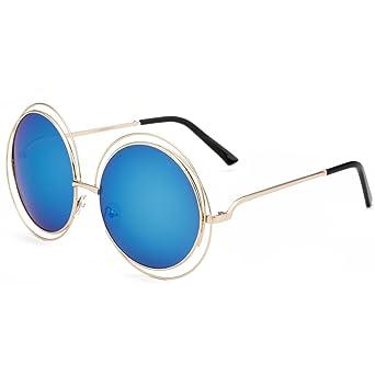 Dollger Damen Rund Übergroß Draht mit Rand Vollmetalle Sonnenbrille(Rosa Spiegel+Goldrahmen) IntmGc14wU