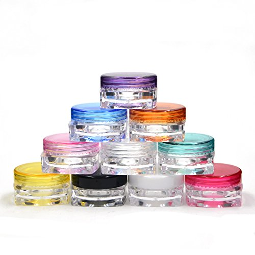 10 Grand Parfums 3g gram Colored Caps on Clear Jars, 3mL Empty Cosmetic Jars Lip blam, Lip Gloss, Clear with Colorful Lids, Tiny Mini Pot High Quality Eyeshadow
