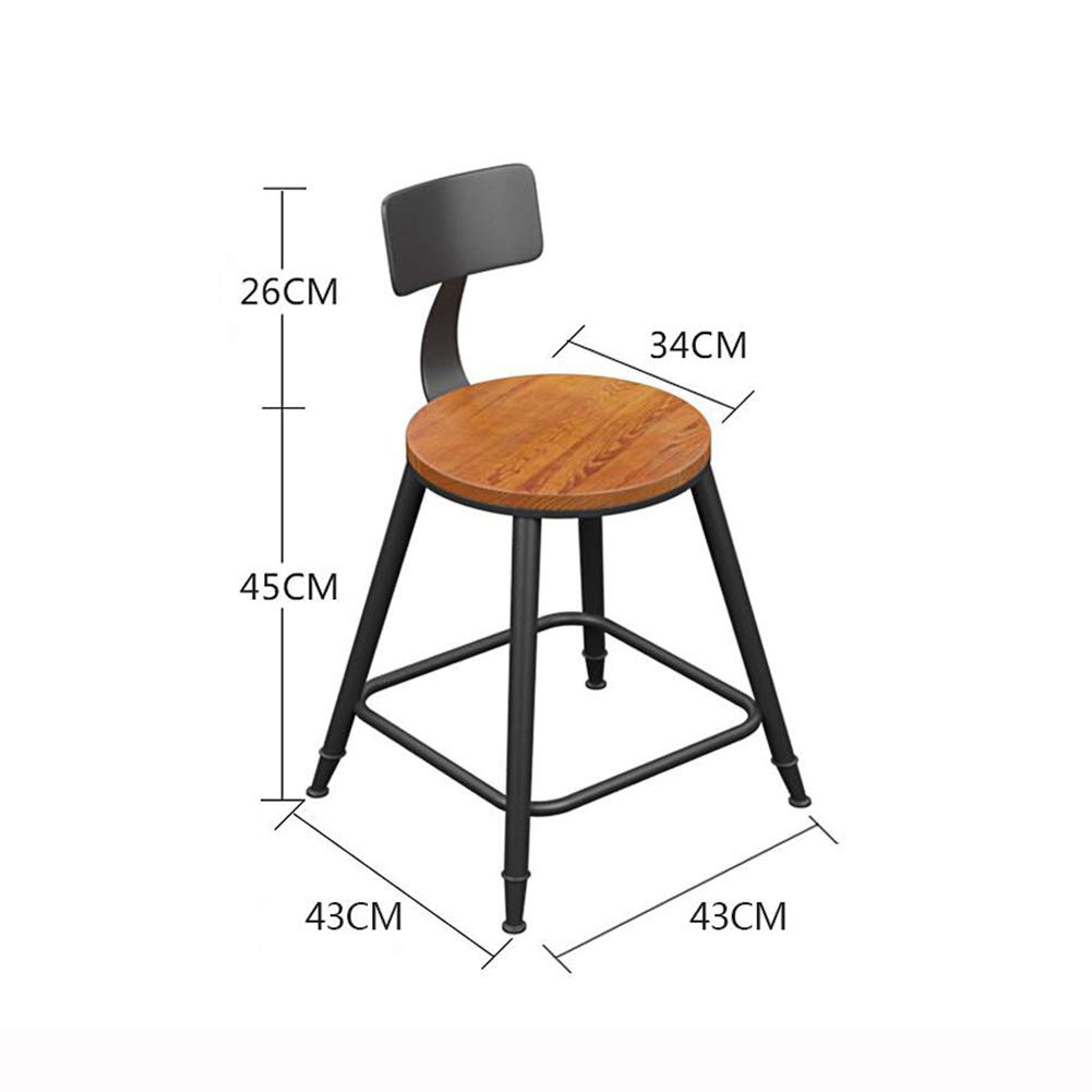 With backrest 45CM QIDI Bar Stool Counter Chairs Wood Bar Stool Footrest Metal Frame Nice Seat Cushion for Breakfast Kitchen Bar Cafe (color   with Cushion, Size   68CM)