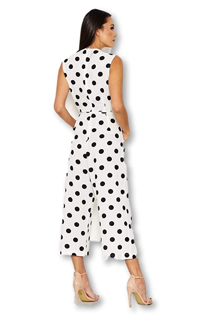 AX Paris Womens Polka Dot Culotte Jumpsuit