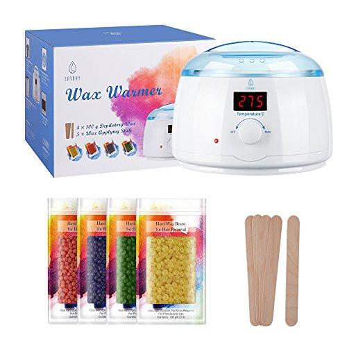 LAVANY  Wax Warmer, Hair Removal Waxing Kit Pearl Wax Machine Hot Wax Heater with 14 oz Removable Wax Pot, 4 Packs 100g Hard Wax Beans & 10 Wax Applicator Sticks