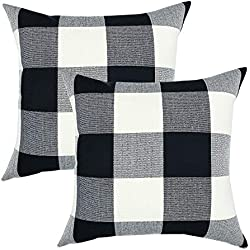 YOUR SMILE Retro Farmhouse Buffalo Tartan Checkers Plaid Cotton Linen Decorative Throw Pillow Case Cushion Cover Pillowcase for Sofa 18 x 18 Inch, Set of 2, Black/White