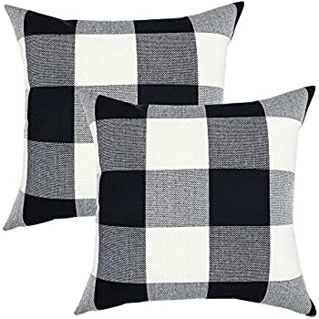 YOUR SMILE Retro Farmhouse Buffalo Tartan Chequer Plaid Cotton Linen Decorative Throw Pillow Case Cushion Cover Pillowcase for Sofa 18 x 18 Inch, Set of 2, Black/White