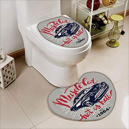 2 pcs Toilet Cover Set Non-Slip mat Bathroom Non-Slip mat,Quote Classic Vintage Sports Car in Navy Blue,Navy,3D Print Heart Shape Toilet seat Cushion Customized Fashion