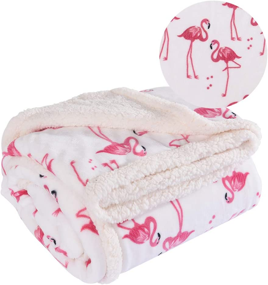 White Twin RHF Flamingo Fuzzy Blanket,Plush Blanket,Fluffy Blanket,Bed Throw Blanket,Velvet Blanket,Thick Fleece,Cozy Blankets For Kids,Kids Blanket,Couch Blanket,Thick Fleece,Flamingo Gifts