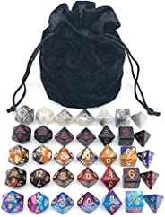 Assorted Polyhedral Dice Set with Black Drawstring Bag, 5 Complete Dice Sets of D4 D6 D8 D10 D% D12 D20 Great