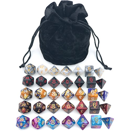 Assorted Polyhedral Dice Set with Black Drawstring Bag, 5 Complete Dice Sets of D4 D6 D8 D10 D% D12 D20 Great for Dungeons and Dragons DND RPG MTG Games]()