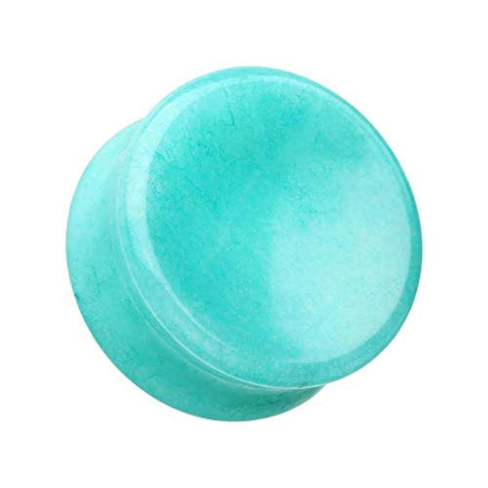 Covet Jewelry Concave ite Natural Stone Double Flared Ear Gauge Plug