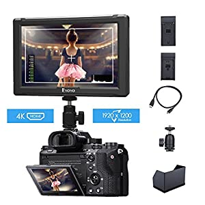 Eyoyo E7S 7 Inch On Camera Field Monitor 1920x1200 IPS Display Supports 4K HDMI Input Loop Output Camera-top Screen For Sony Canon DSLR Camera with F970 LP-E6 Battery Plate