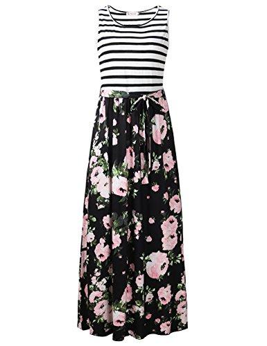FANVOOK Maxi Dress, Women's Floral Long Tank Dresses Ankle Length for Women Autumn BP M ()