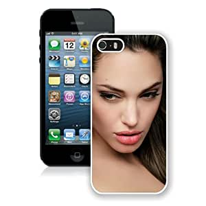 Fashion And Unique iPhone 5S Case Designed With Angelina Jolie Face Eyes Hair Image Celebrity White iPhone 5S Cover
