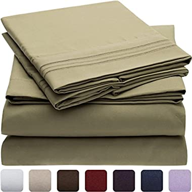 Mellanni Bed Sheet Set - Brushed Microfiber 1800 Bedding - Wrinkle, Fade, Stain Resistant - Hypoallergenic - 4 Piece (King, Olive Green)