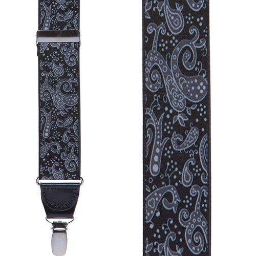 H Sheldon Mens Black Paisley Drop Clip Suspenders A