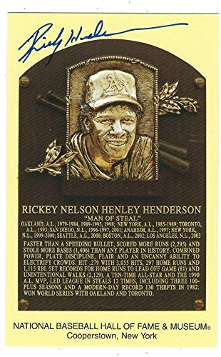 Autographed Rickey Henderson Hall of Fame Gold Plaque Post Card