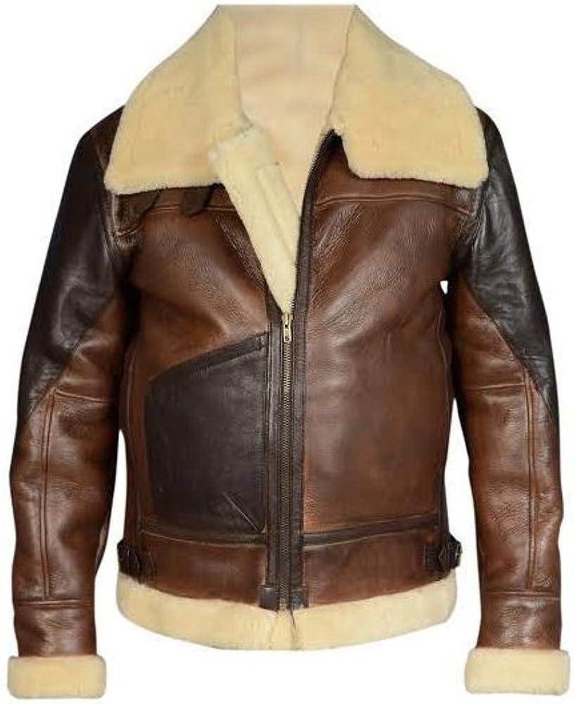 Men/'s Aviator RAF B3 Sheepskin Fur Leather Bomber Flying Jacket