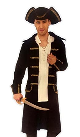 Gentleman Pirate Costume Captain Black Coat Nu0027 Tricorn Hat Men Plus Size Std-XXL  sc 1 st  Amazon.com & Amazon.com: Gentleman Pirate Costume Captain Black Coat Nu0027 Tricorn ...