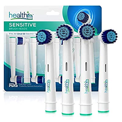 Oral-B Electric Toothbrush Sensitive Replacement Head Generic - 8-Pack | Gentle-Action Tooth Brush Heads With Dupont Bristles | Sensitive Gums and Teeth & Gentle Whitening Action | Prevent Plaque