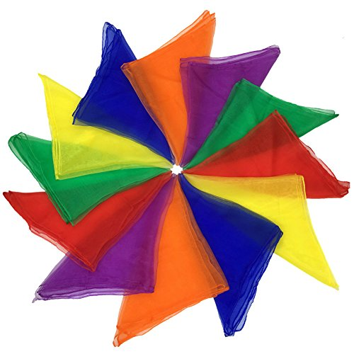 Joy Carpets Ribbons - Dance Scarves Music Scarves for Children Movement and Juggling 12pcs