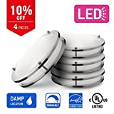 IN HOME 14-inch LED Flush mount Ceiling Light DR Series, 21w (100W equivalent), Dimmable, 5000K (Daylight), 1500 Lumens, Brushed Nickel Finish with Acrylic shade, (4 pack) UL and ENERGY STAR listed