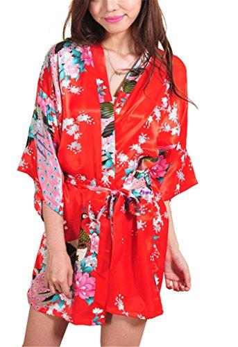 Surenow Mujer Vestido Kimono Pavo & Flores Albornoces Pijamas Satén Rojo
